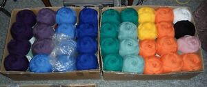 LARGE LOT OF 36 BIG SKEINS YARN IN ASST. COLORS. NICE LOT