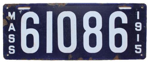 Massachusetts 1915 Porcelain License Plate, 61086, Antique, Garage Sign