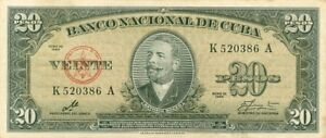 PAPIER MONNAIE  DE  CUBA 20 PESOS 1950 SIGNÉ   CHÉ