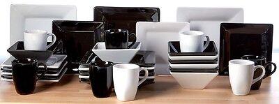 32 piece White Black Gloss Square Dinner Set Stone Service Plates Bowls Mugs ex