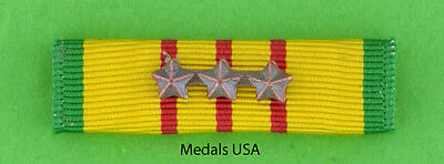 VIETNAM SERVICE MEDAL Mounted RIBBON BAR with 3 Bronze Campaign / Battle Stars