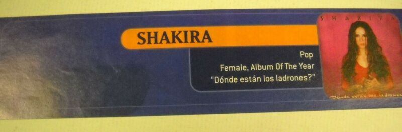 SHAKIRA - Pop - Female Album Of The Year vintage promo trade advert