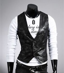 Hot Vintage Celebrity collection Men Casual Vest Slim fit PU Leather Waistcoa