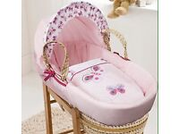 Moses basket, stand and brand new mattress