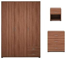 Alpha 3 Door Wardrobe, Chest of 3 Drawers and 1 Drawer Bedside Cabinet, Walnut.