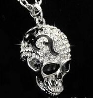 WHITE GOLD PLATED SKULL PENDANT WITH SWAROVSKI CRYSTALS+CHAIN