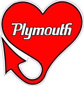 Plymouth Heart With Devils Tail Sticker Decal