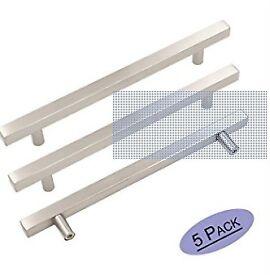 Brushed Nickel Hardware Drawer handles.