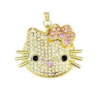 Hello Kitty Crystal Necklace with 8 GB USB Flash Drive