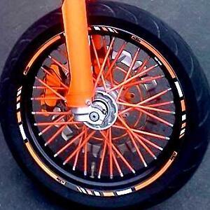 orange colored spokes fits all dirt bikes spoke covers skins wraps coats ebay. Black Bedroom Furniture Sets. Home Design Ideas