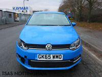 2015 *65* Volkswagen Polo 1.0 TSI BMT SE Blue Damaged Salvage CAT D