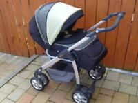 Silvercross pram with cosy toes,rain cover, matching changing bag in good cond.
