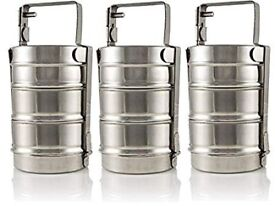 Stainless Steel 3 Tier Lunch Box Staight Tiffin Box Food Container Storage Tiffin