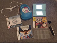 Teal Nintendo DS lite, games and accessories