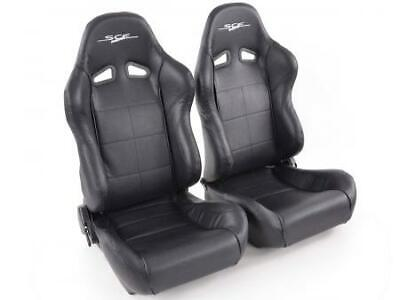 Pair Front Car Sports Seats SCE-Sportive 1 artificial leather black VW Audi Seat