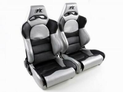 2x Front Car Sports Seats Edition 1 artificial leather black silver VW Audi Seat