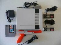 ORIGINAL NINTENDO WITH 2 CONTROLLERS, THE ZAPPER AND SUPER MARIO