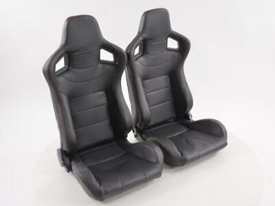 Pair Front Car Sports Seats Halbschalensitz Carbon faux leather black VW Audi