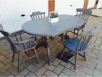 Farmhouse Twin Pedestal Oval Kitchen Table and Chairs French Grey