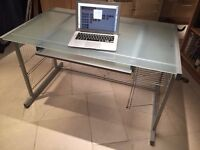 Minimimalist steel and matte frosted glass desk