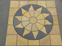 Stone Concrete Aztec Sun Circle Patio Paving Set 2.25Sqm Including Squaring Off Kit.
