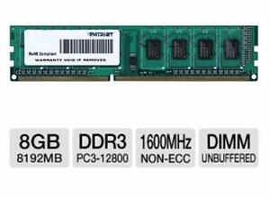NEW PATRIOT DESKTOP MEMORY 8GB DDR3 1600MHz Desktop Memory Module 240-pin DIMM, 1.5V, CL11, Non-ECC COMPUTER 98225974