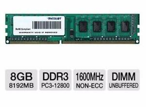 NEW PATRIOT DESKTOP MEMORY 8GB DDR3 1600MHz Desktop Memory Module 240-pin DIMM, 1.5V, CL11, Non-ECC COMPUTER 98225974
