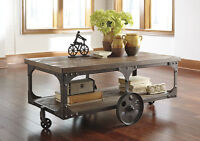New Rustic Factory Cart Coffee Table