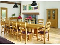Oak dining table & 8 chairs ex display