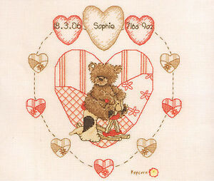 Popcorn Heart Birth Sampler - Cross Stitch - Popcorn