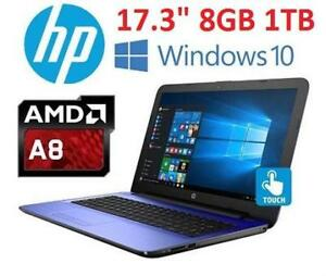 NEW HP AMD A8 17.3 TOUCH LAPTOP PC - 120822488 - AMD A8 1TB HDD 8GB MEMORY WINDOWS 10 COMPUTER NOTEBOOK PC