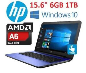 NEW OB HP 15.6 TOUCH LAPTOP PC - 127488766 - AMD A6 1TB HDD 6GB MEMORY WINDOWS 10 COMPUTER NOTEBOOK PC