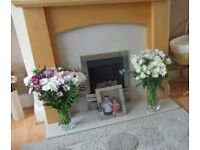 Beech Fire Surround and marble back panel and hearth