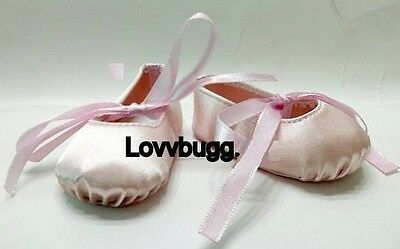 "Lovvbugg Pink Ballet Slippers Hard Toe for 18"" American Girl or Bitty Baby Doll Shoes"