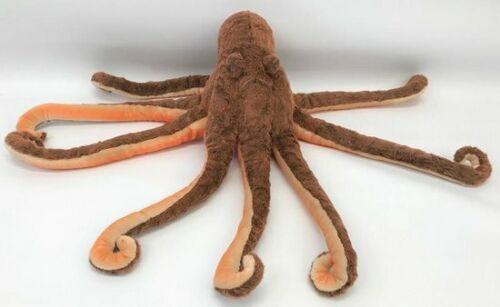 "NWT Hansa Life Like Handmade Stuffed Animal Plush Large Octopus Red Tan 26"""