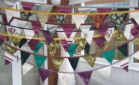 HOMEMADE DOUBLE-SIDED RETRO VINTAGE FABRIC PARTY BUNTING £5 a 3 metre length