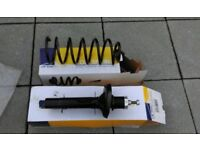 Front shock absorber and spring