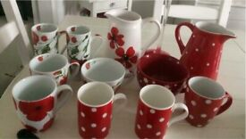 Crockery mugs jugs, table accessories serving plates chargers, candle holders red & white,