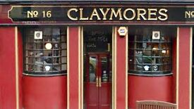 Claymore Bar General Manager/Chargehand/Bar Staff for immediate start