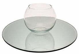5 x Glass Mirror round Table plates (Great for Weddings)