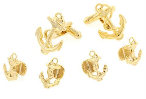 Anchor and Rope Gold Plated Cufflinks and Stud Set