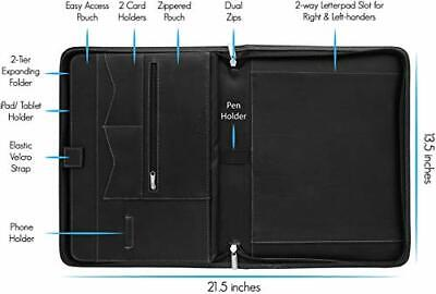 Portfolio Binder Zippered Padfolio Document Organizer With Notepad Black Stylio