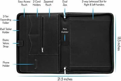 Portfolio Binder Zippered Padfolio Document Organizer With Notepad Black Stylio