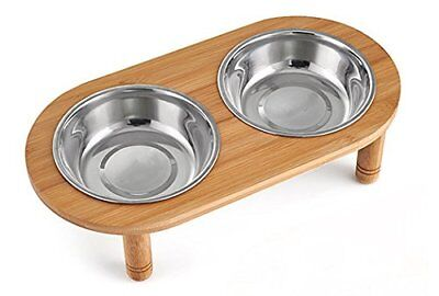 Elevated Dog Cat Bowls Stand with 2 Stainless Steel Raised Pet Feeder