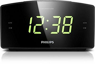 Philips LED Large Display Alarm Clock Digital Tuning Radio FM Wake Up Bedroom