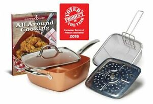 """Copper Chef 5-Pc. 9.5"""" Deep Square Pan Set with Accessories"""