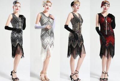 1920er Jahre Flapper Kleider Great Gatsby Pailletten Fest Perlen Fringe Kleid Q8