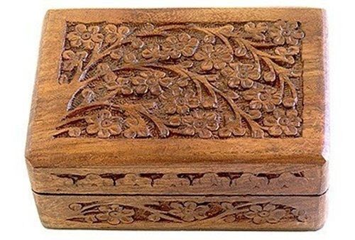 "Wooden Carved Tarot Box Wicca Pagan 4"" X 6"" inchs FREE SHIPPING Jewerly box"