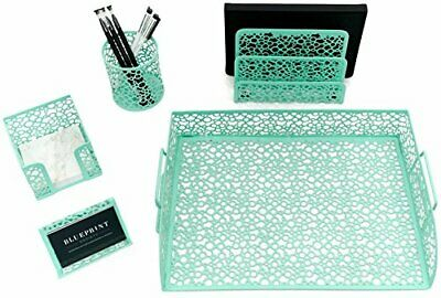 Blu Monaco Office Supplies Mint Green Desk Organizers And Accessories-5 Piece