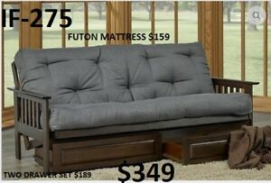 HUGE VARIETY OF STYLES & COLOURS OF FUTONS, STARTING AT  $129!